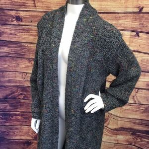 Thick Grey Multi Knit Long Open Cardigan